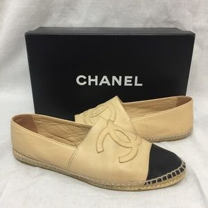 Chanel Womens Leather Monogram Espadrille Flats